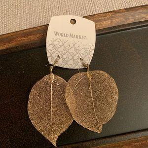 World Market gold feather earrings